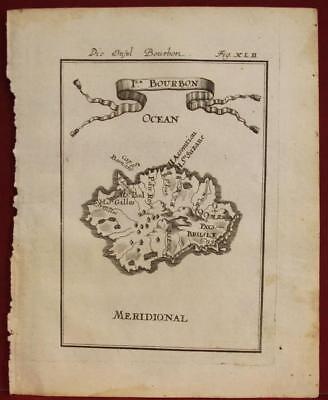 Reunion France 1719 Alain Manesson Mallet Antique Original Copper Engraved Map