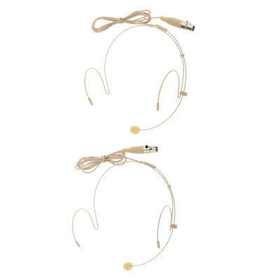 2x Wired Headset Headworn Microphone for Voice Amplifier Speaker Skin Color