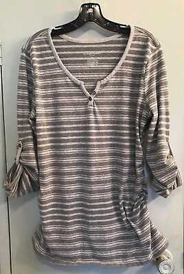 Liz Lange Maternity Striped Long Sleeve Ruched Sides Top Women's Size XXL