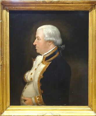Large 18th Century British Navy Portrait Admiral Officer Antique Oil Painting
