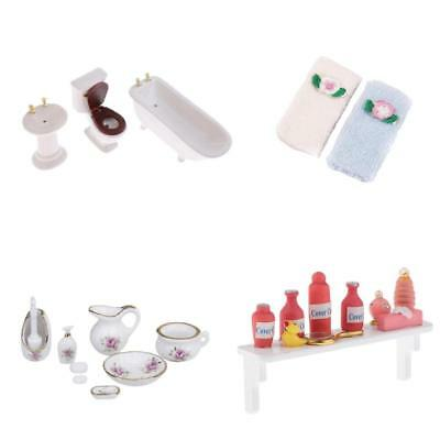 1/12 Dollhouse Miniature Bathroom Furniture Supplies Kit Bathtub Toilet Set