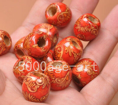 20pcs Tribal Patterned Wood Beads red Wooden Dreadlock Pony Bead beads 16x17mm