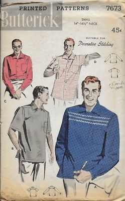 VTG 1950's Butterick Pattern 7673 Men's SPORT SHIRT, Front Pocket sz Small 34-36