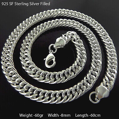 """Mens Necklace Chain Real 925 Sterling Silver S/F Solid Heavy Curb Link 22"""""""