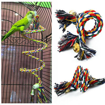 Bird Perch Toy Parrot Cotton Rope Chewing Bar Cage Stand Spiral With Bell 50cm