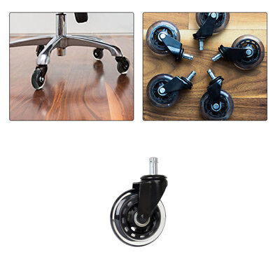 5x Office Chair Caster Wheels Swivel Rubber Wood Floor Home Furniture Replacment