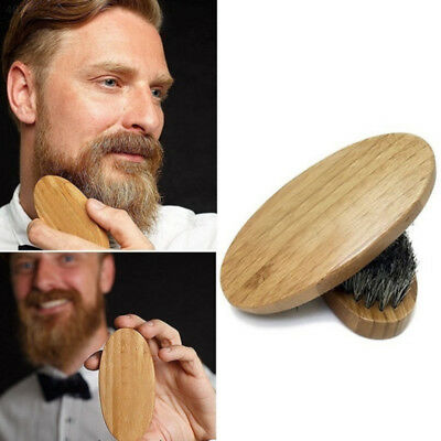Natural Boar Bristle Beard Brush Mini Mens Mustache Hair Shaving Facial Cle
