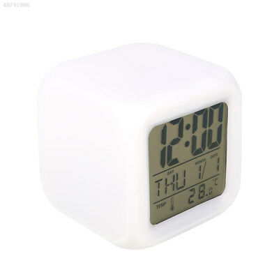 7 Color LED Change Digital Glowing Alarm Clock Sleeping Wake Up Home White