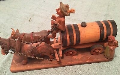 Vintage Hand carved German Beer Wagon display with horse and ox pulling wagon
