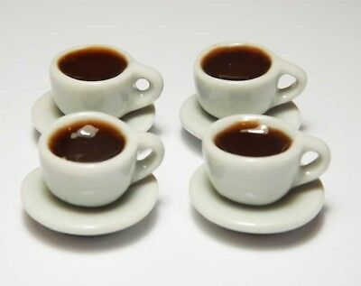4 Dollhouse Miniature Cups of Coffee on Saucers * Doll Mini Food Drink Chocolate
