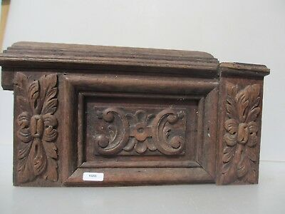 Antique Carved Wooden Panel Plaque Top Spare French Vintage Old Wood Floral