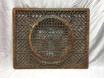 Antique Cast Iron Cold Air Return Floor Vent Grill Old 24x23 Vtg Homer 430-18E