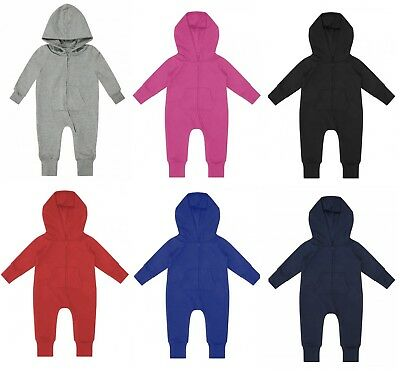 TODDLER BOY/GIRL Baby Plain Zip Up Long Sleeve Hooded FLEECE Play Suit Jumpsuit
