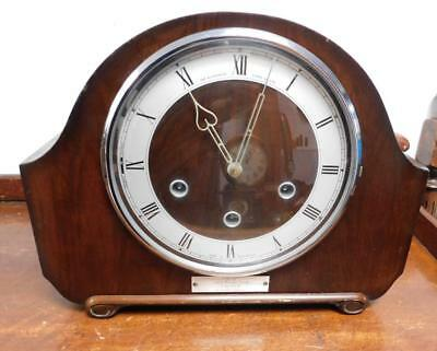 walnut westminster chimes mantel clock by smiths