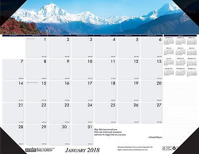 House of Doolittle 2018 Monthly Desk Pad Calendar, Earthscapes Mountains, 22 x -