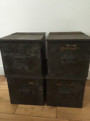 Mid century Industrial Storage File Boxes Metal Table