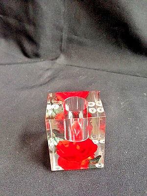 Mid-Century Chunky Lucite/Acrylic Candle Holder Red Rose Square