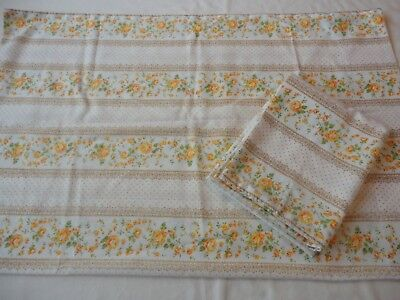 2 Vintage 1970's  Cannon Royal Family Muslin  Pillowcases , Gold Floral Print