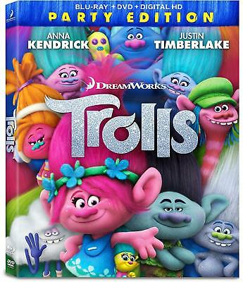 Brand New! Trolls (Blu-ray and DVD 2-Disc Set, Includes Digital Copy) 2017
