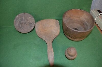Antique Wood Primitive Hand-Carved Butter Mold or Print with Antique Spatula