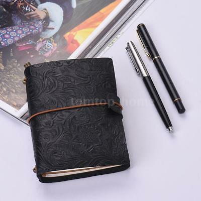 Vintage Classic Leather Notepad Embossed Cover Notebook Journal Diary Blank C3F3