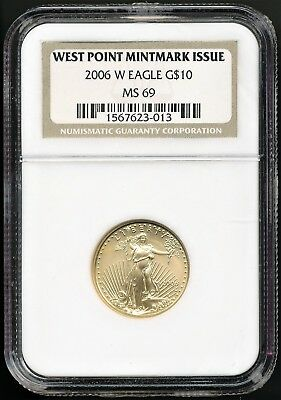 2006 W 1/4 oz. $10 Gold American Eagle West Point Burnished NGC MS69 Low Mintage