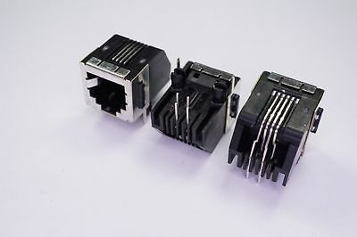 Lot of 3 555154-2 TE Conn Modular Ethernet Connector Jack 4 Pos Right Angle