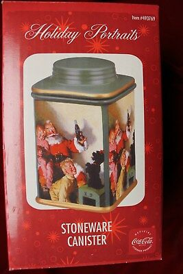 Coca Cola Christmas Stoneware Canister, In Original Box , New, 32 Ounce Canister