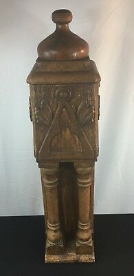 """Antique Vintage Hand Carved Oak Stair Baluster 34"""" Architectural Salvage"""