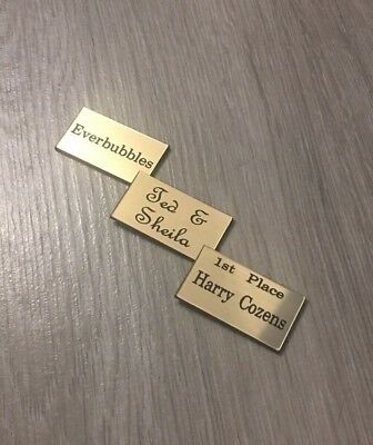 small engraved plaque 50mm x 25mm name label stick on personalise custom sizes