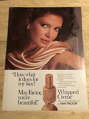 JACLYN SMITH Max Factor / OLDSMOBILE FIRENZA GT - Vtg 1983 Magazine Ad - 2-sided