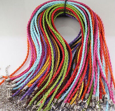 Free shipping  20pcs mixed twist leather cord necklaces 18""