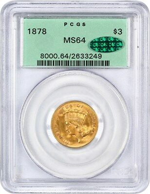 1878 $3 PCGS/CAC MS64 (OGH) Popular Gold Type Coin - 3 Princess Gold Coin