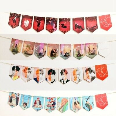 KPOP BTS LOVE YOURSELF 結 ANSWER Paper Flag HD Hang up Photo Banner Home Decor