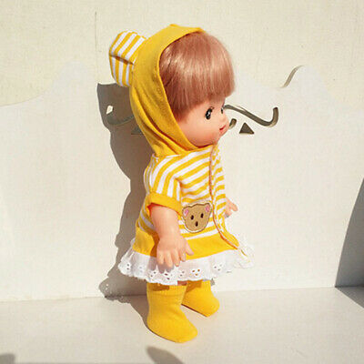 Adorable Hooded Skirt & Socks Yellow for 25cm Mellchan Girl Doll Toy Accs