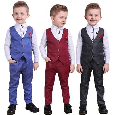 Kids Boy Formal Suit Tuxedo Christening Wedding Shirt+ Vest+ Pants Set Hot AU