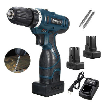 25V Li-Ion Cordless Electric Drill Driver LED Screwdriver Kit w/ 2 Batteries Kit