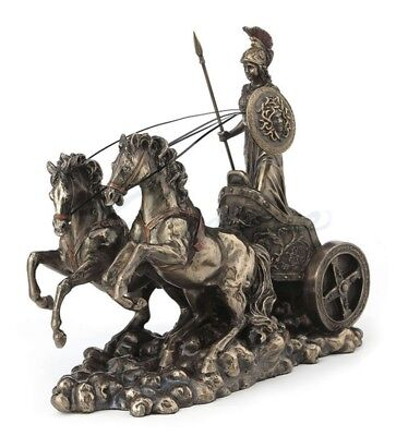 "10.5"" Athena Riding Chariot w/ Spear & Shield Statue Sculpture Greek"