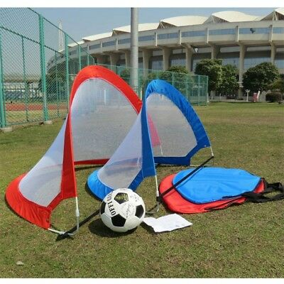 2Pc Portable Football Goal Pop Up Net Kids Outdoor Play Training Toy Gate Soccer