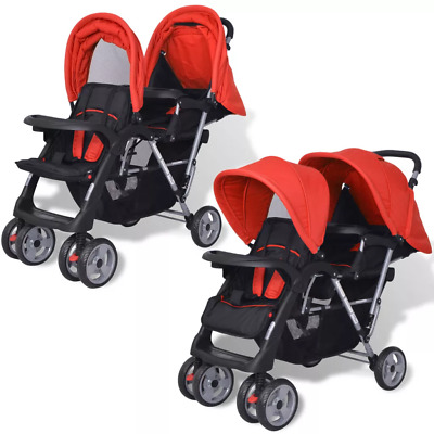 Double Pram Twin Buggy Pushchair Tandem Stroller Steel With 2 Folding Canopies