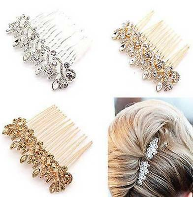 Bridal Wedding Crystal Jewel Diamante Hair Comb Clip Slide Fascinator Hairpiece