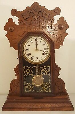 Antique Working 1870's Waterbury Clock Co. Victorian Walnut Parlor Mantel Clock
