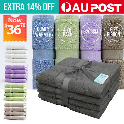 4/6Pack 70x140cm Bath Towels 100% Egyptian Cotton Towel Sets Bathroom Washcloth