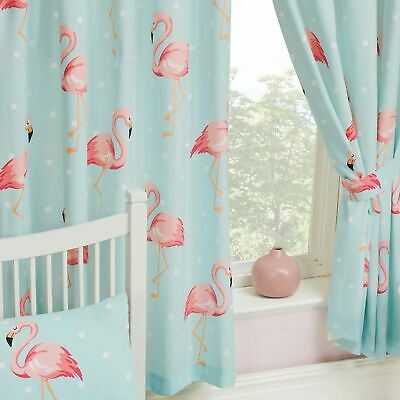 """FIFI FLAMINGO BLUE TURQUOISE CURTAINS LINED 66"""" x 54"""" KIDS GIRLS BEDROOM"""