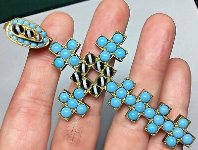 Huge Antique Victorian Edwardian Silver & Turquoise & Banded Agate Glass Stones
