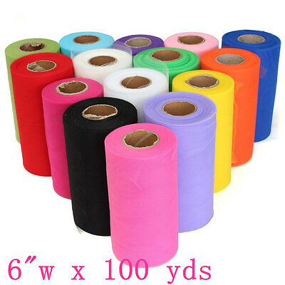 """6""""w x 100yds Tulle Roll Soft Craft for Wedding Festival Party Tutu Roll 3 Colors"""