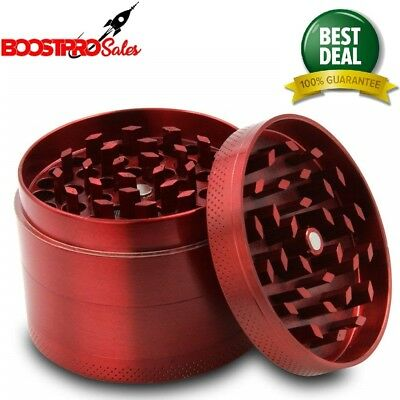 METAL HERB GRINDER 4 Piece 2.14 Inch Red Spice Tobacco Large Hand Crusher
