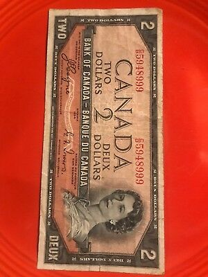 1954 Bank Of Canada 2 Dollar Bill- Devils Face Hairdo- B/C 5948999