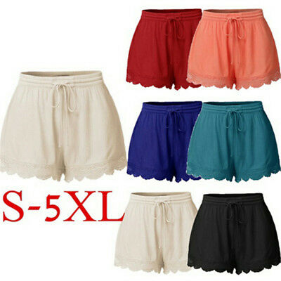 Womens Ladies Elastic Waist Drawstring Lace Hem Beach Casual Shorts Hot Pants