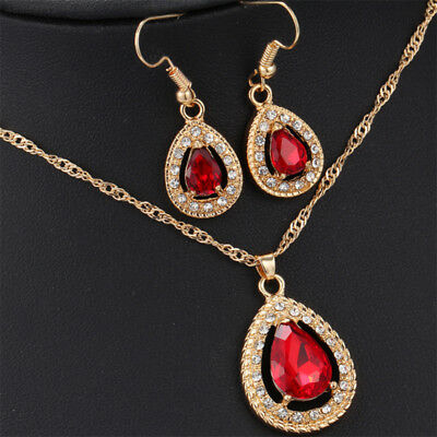 Gold Earrings Gold Party Necklet Crystal Accessories Pendant Necklace